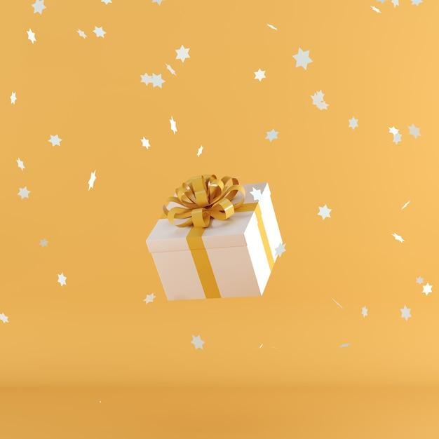 Witte geschenkdoos met oranje kleur lint op oranje kleur achtergrond Premium Foto