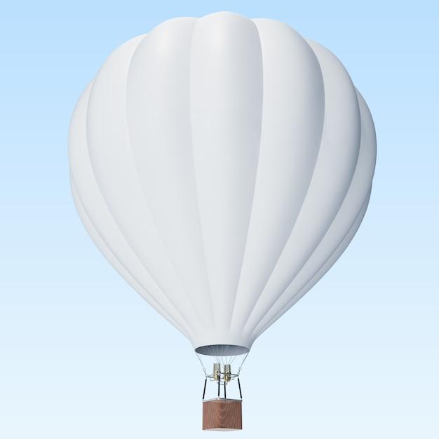 Witte hete luchtballon op wolkenachtergrond met mand. Premium Foto
