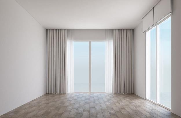 Witte kamer met houten vloer en schuifdeuren met gordijnen Premium Foto