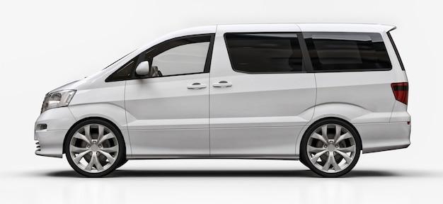 Witte kleine minibus voor het vervoer van mensen. driedimensionale afbeelding op een glanzend wit oppervlak Premium Foto
