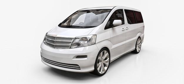 Witte kleine minibus voor het vervoer van mensen. driedimensionale illustratie op een glanzende witte achtergrond Premium Foto