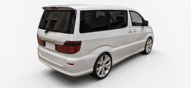 Witte kleine minibus voor het vervoer van mensen Premium Foto