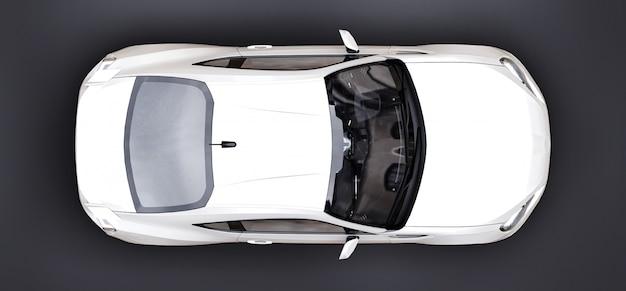 Witte kleine sportwagencoupé. 3d-weergave Premium Foto