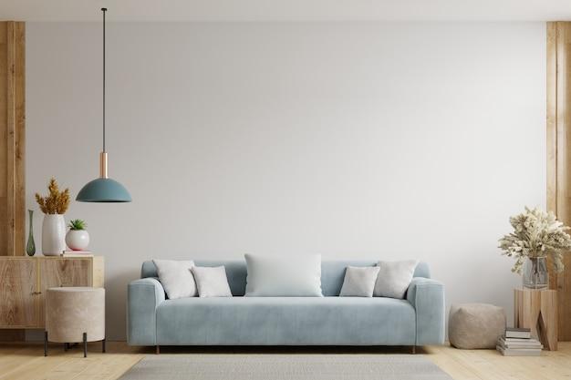 Witte Muur Woonkamer Heeft Een Bank En Decoratie 3d Weergave Premium Foto