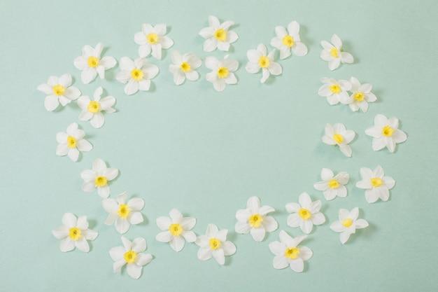Witte narcissen op groenboekachtergrond Premium Foto