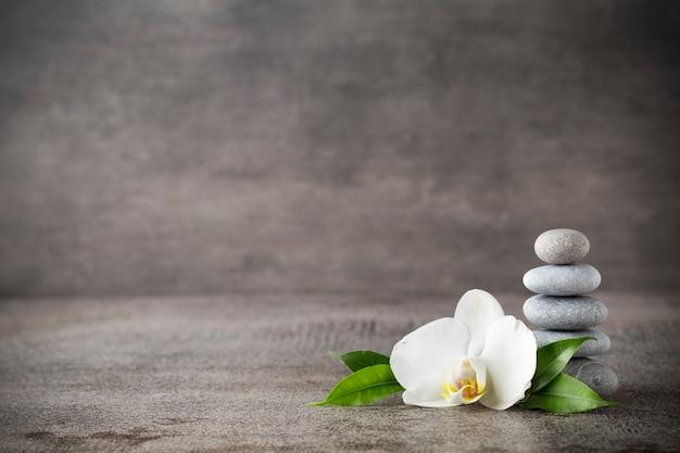Witte orchidee en spa stenen op de grijze achtergrond. Premium Foto
