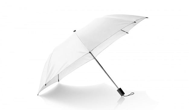 Witte paraplu geïsoleerd op wit Premium Foto