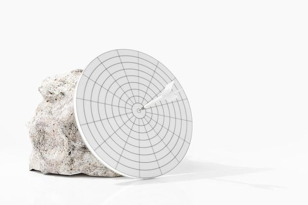 Witte pijlen krijgen de witte steen en witte pijlen in het midden van het doel. 3d-weergave. Premium Foto