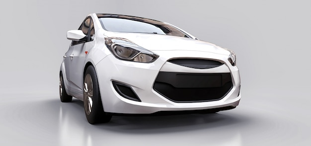 Witte stadsauto met leeg oppervlak voor uw creatieve ontwerp. 3d-rendering. Premium Foto