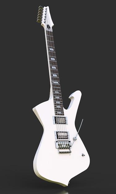 Witte stijlvolle elektrische gitaar op zwart Premium Foto