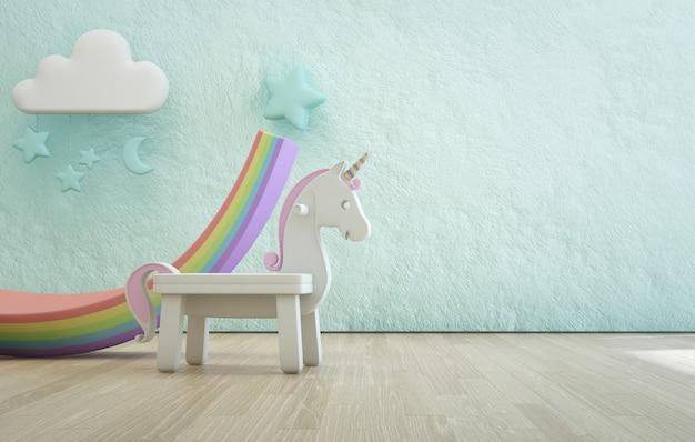 Witte stuk speelgoed eenhoorn op houten vloer van kinderkamer met lege ruwe blauwe concrete textuurmuur. Premium Foto