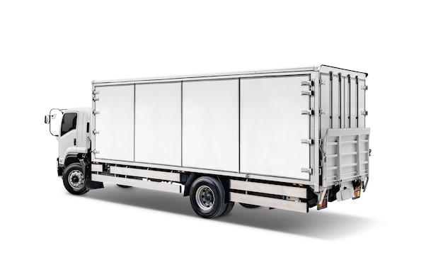 Witte transportvrachtwagen of containerautotrailer Premium Foto