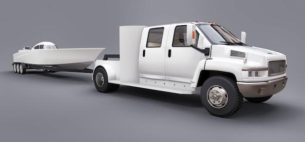 Witte vrachtwagen met aanhangwagen voor het transport van raceboot op grijs Premium Foto