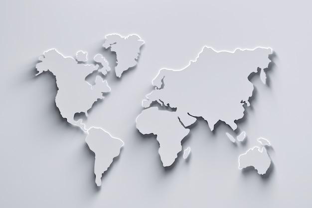 Witte wereldkaart Premium Foto
