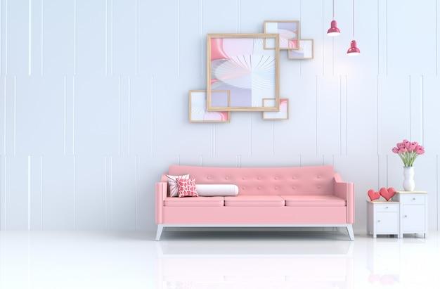 Witte woonkamer van liefde op valentijnsdag en nieuwjaar. 3d render. Premium Foto
