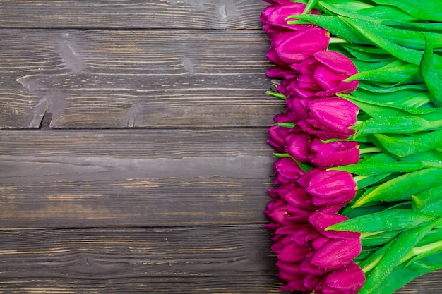 Women's day kopie ruimte met fel roze tulpen op een zwarte houten achtergrond, texturen Premium Foto