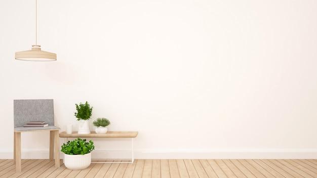 Woongedeelte in appartement of coffeeshop - 3d-rendering Premium Foto
