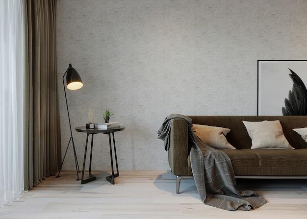 Wooninterieur met bank, lamp en salontafel Premium Foto