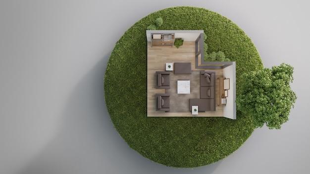 Woonkamer dichtbij grote boom op uiterst klein aardeland met groen gras in onroerende goederenverkoop of het concept van de bezitsinvestering. Premium Foto