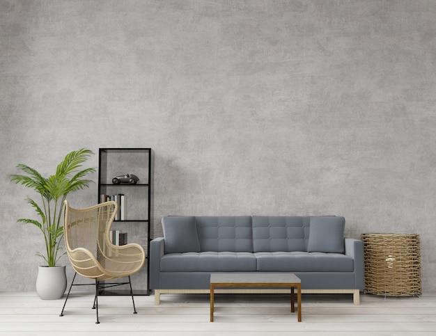 Woonkamer in loftstijl met ruw beton Premium Foto
