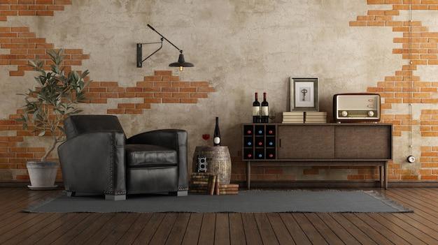 Woonkamer in retrostijl met een zwartleren fauteuil, een houten dressoir en een bakstenen muur Premium Foto
