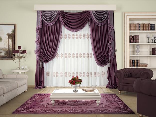 Woonkamer interieur met decoratie Premium Foto