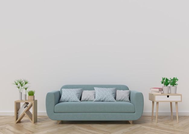 Woonkamer met bank, planten en plaid op lege witte muur achtergrond. 3d-rendering. Premium Foto