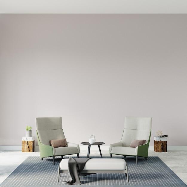 Woonkamer met fauteuils voor de witte muur Premium Foto