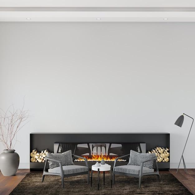 Woonkamer met grijze fauteuil en open haard Premium Foto