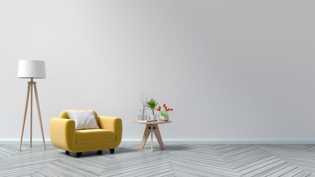Woonkamer met houten lijst, lampen en gele leunstoel, het 3d ...