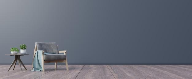Woonkamer met houten tafel en fauteuil. Premium Foto