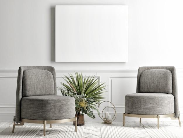 Woonkamer met mockup poster op de achtergrondmuur, grijze comfortabele bank, een fauteuil in scandinavische stijl, 3d render, 3d illustratie Premium Foto
