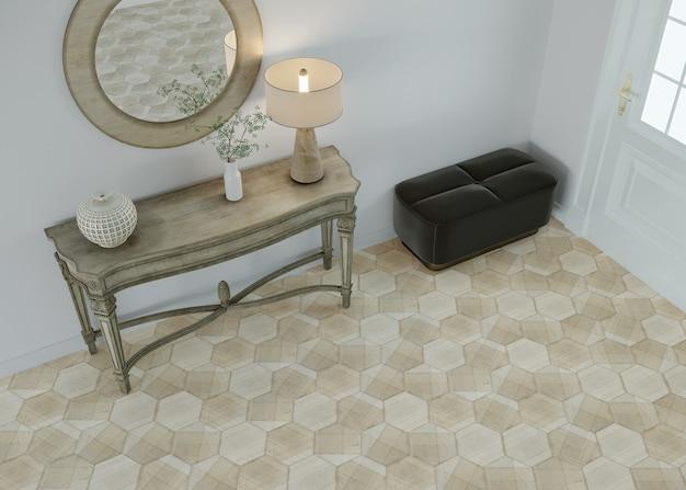 Woonkamerbinnenland met meubilair Premium Foto