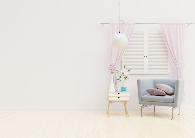 Woonkamerbinnenland met stoel, installaties, kabinet en lamp op lege muur Premium Foto