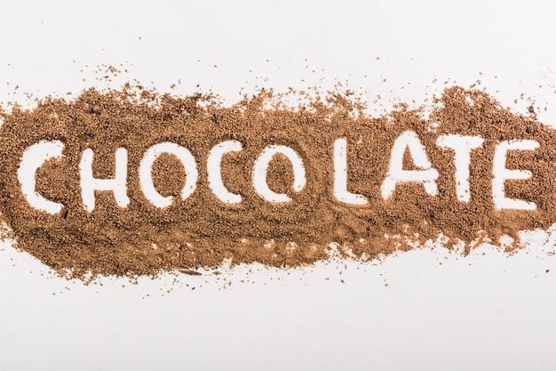 Woordchocolade op chocoladedalingen Gratis Foto