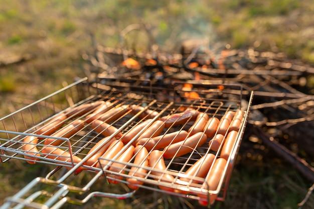 Worsten in de grill op de brandstapel. een picknick in de natuur bij zonsondergang. smaak van de zomer Premium Foto