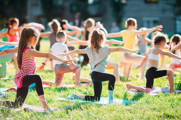 Yogalessen buiten in de open lucht. Premium Foto