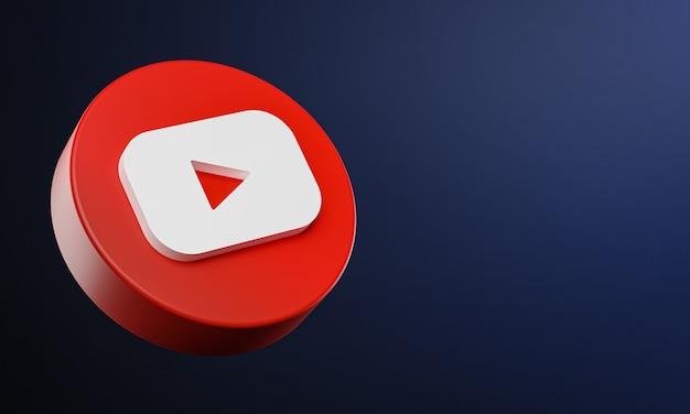 Youtube circle button icon 3d met kopie ruimte Premium Foto
