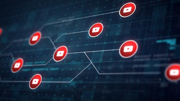 Youtube icon line connection van circuit board Gratis Foto