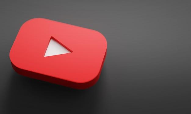 Youtube logo 3d rendering close up. sjabloon voor youtube-kanaalpromotie. Premium Foto