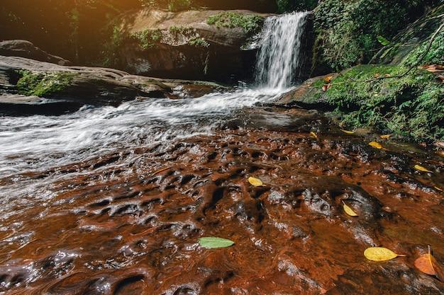 Zacht water van de stroom in het wiman thip waterfall natural park prachtige waterval in het regenwoud Premium Foto