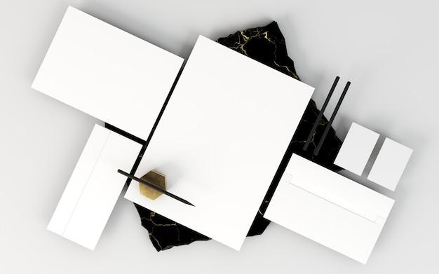 Zakelijke briefpapier regeling kopie ruimte en potloden Gratis Foto