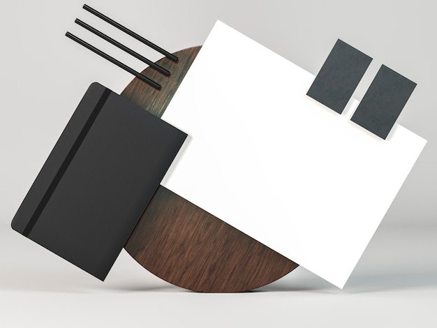 Zakelijke briefpapier regeling kopie ruimte vooraanzicht Gratis Foto