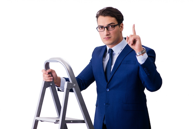Zakenman boven geïsoleerde ladder Premium Foto
