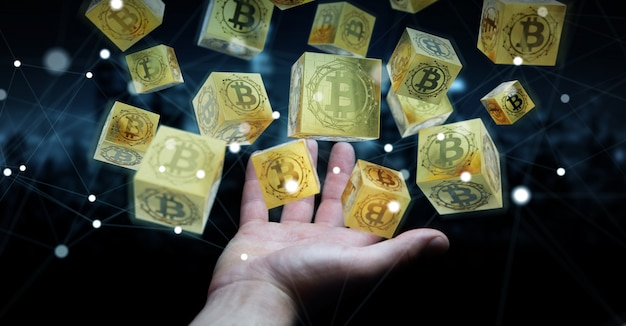 Zakenman die bitcoins cryptocurrency het 3d teruggeven gebruiken Premium Foto