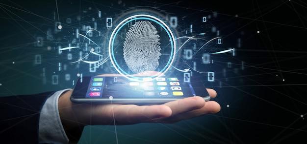 Zakenman die een digitale vingerafdrukidentificatie en het binaire code 3d teruggeven houden Premium Foto