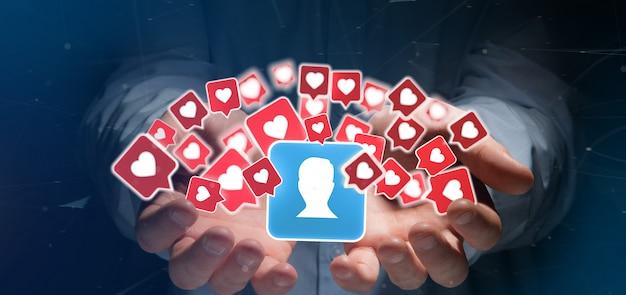 Zakenman die houdt van kennisgeving op een contact op sociale media Premium Foto