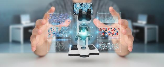 Zakenman die moderne microscoop met het digitale analyse 3d teruggeven gebruiken Premium Foto