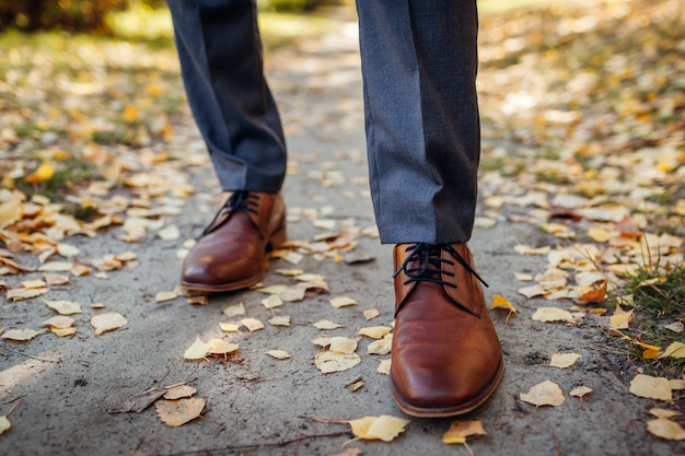 Zakenman die schoenen in de herfstpark draagt. bruin lederen klassieke schoenen. close up van benen Premium Foto