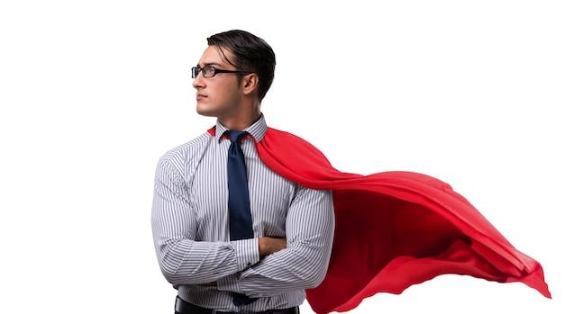 Zakenman in rode dekking die op wit wordt geïsoleerd Premium Foto